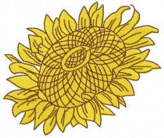 Yellow sunflower embroidery design