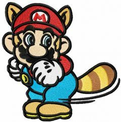 Super Mario raccoon embroidery design