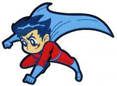 Superboy flying embroidery design