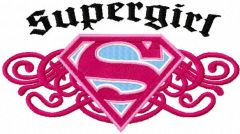 Supergirl vintage logo embroidery design