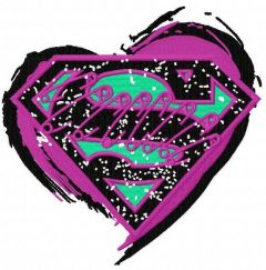 Supergirl's heart open embroidery design