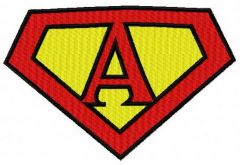 Superman alphabet letter A embroidery design