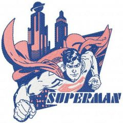 Superman flying in the city embroidery design