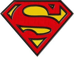 Superman logo applique embroidery design
