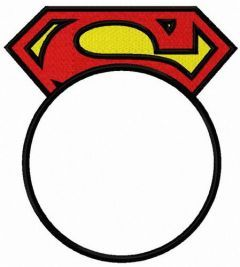 Superman round monogram embroidery design