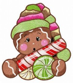Surprised gingerbread man embroidery design