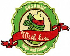 Susanne hugs and kisses embroidery design