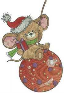 Swinging on Christmas ball embroidery design
