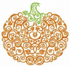 Swirl ornament pumpkin embroidery design