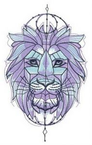 Symmetrical lion embroidery design