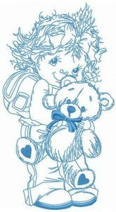 Taking teddy bear to school embroidery design