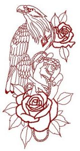 Tamed eagle 2 embroidery design