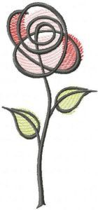 Tattered rose free embroidery design