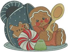 Tea time for gingerbread man embroidery design