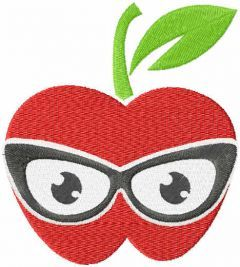 Teacher apple free embroidery design
