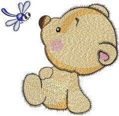 Teddy Bear and dragonfly embroidery design