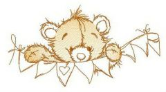 Teddy and paper garland embroidery design