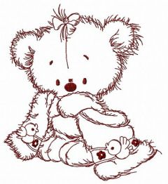 Teddy bear after shower 2 embroidery design