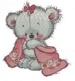 Teddy bear after shower embroidery design