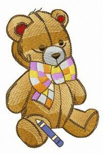 Teddy bear and crayon embroidery design