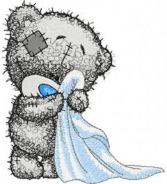 Teddy bear in the bathroom embroidery design