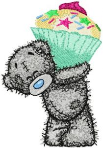 Teddy Bear Big cupcake embroidery design