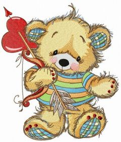 Teddy bear cupid embroidery design
