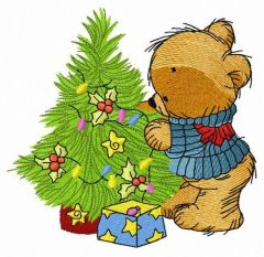 Bear decorating New Year tree 2 embroidery design