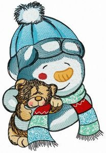 Teddy bear for snowman 3 embroidery design