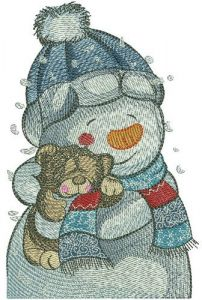 Teddy bear for snowman embroidery design