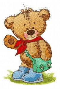 Teddy bear goes to school embroidery design