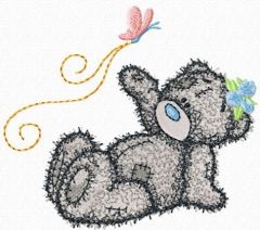 Teddy Bear good flight my friend embroidery design