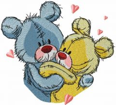 Teddy Bears happy together 2 embroidery design