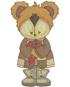 Teddy bear autumn love embroidery design