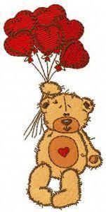 Teddy bear I love you embroidery design