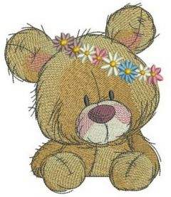 Teddy bear in flower pot 3 embroidery design