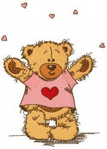 Teddy bear in love with you embroidery design