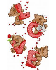 Teddy Bear love embroidery design