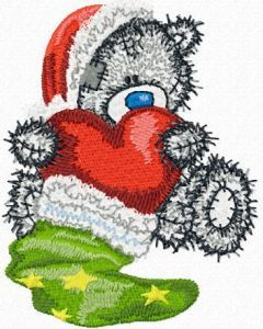 Teddy Bear Christmas gift-red heart embroidery design