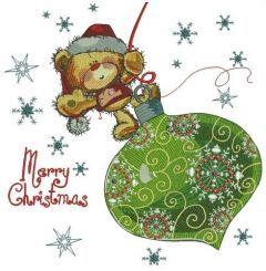 Teddy bear on Christmas ball embroidery design