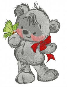 Teddy bear playing with butterfly 2 embroidery design