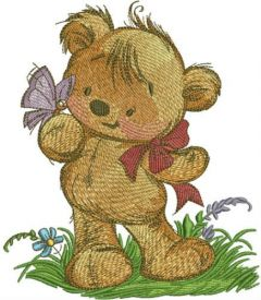 Teddy bear playing with butterfly embroidery design