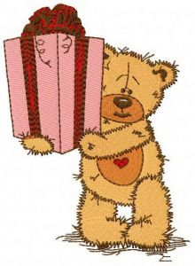 Teddy bear present for you embroidery design