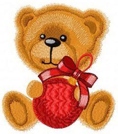 Teddy bear ready for Christmas embroidery design