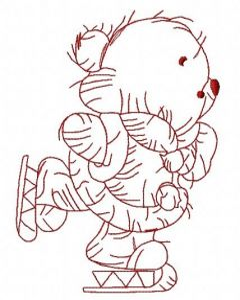 Teddy bear skating 3 embroidery design