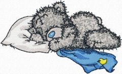 Teddy bear sleeping embroidery design