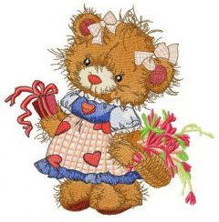 Teddy bear the villager embroidery design