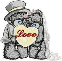 Teddy Bear wedding embroidery design