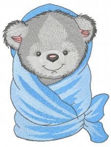 Teddy bear with bath towel 2 embroidery design