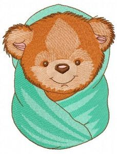 Teddy bear with bath towel 3 embroidery design